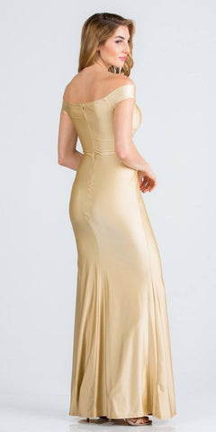 Embellished Waist Off Shoulder Long Formal Dress Gold