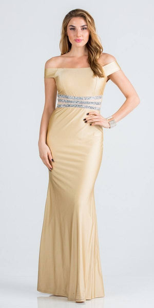 Embellished Waist Off Shoulder Long Formal Dress Taupe
