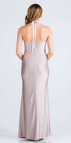 Blush Halter Long Formal Dress with Slit