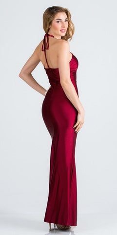 Burgundy Halter Long Formal Dress with Slit