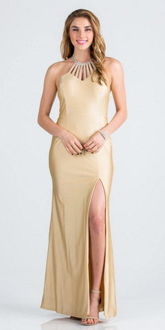 Toffee Halter Long Formal Dress with Slit