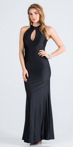 Black Long Prom Dress Cut-Out Back with Keyhole