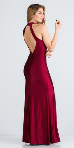 Burgundy Long Prom Dress Cut-Out Back with Keyhole