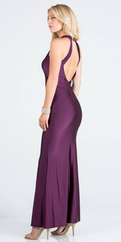 Eggplant Long Prom Dress Cut-Out Back with Keyhole Back View