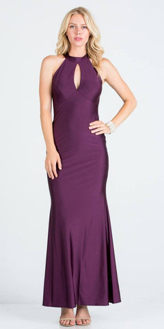 Eggplant Long Prom Dress Cut-Out Back with Keyhole