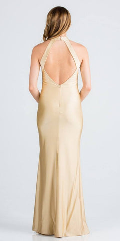 Toffee Long Prom Dress Cut-Out Back with Keyhole