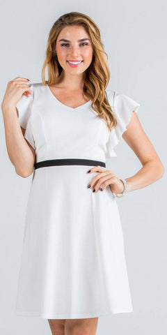 Off White Flutter Sleeves Short Party Dress V-Neck