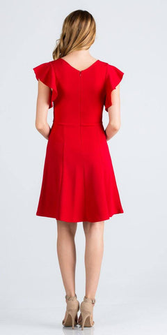 Red Flutter Sleeves Short Party Dress V-Neck