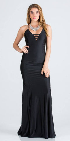 Spaghetti Strap Black Long Formal Dress V-Neck