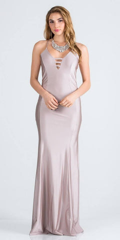 Spaghetti Strap Blush Long Formal Dress V-Neck