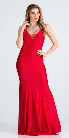 Spaghetti Strap Red Long Formal Dress V-Neck