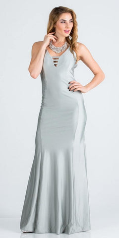 Spaghetti Strap Silver Long Formal Dress V-Neck