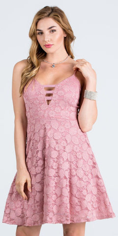 Deep V-Neck Blush Fit and Flare Homecoming Dress