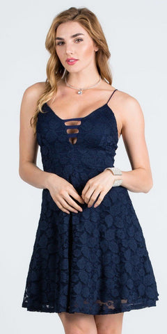 Deep V-Neck Navy Blue Fit and Flare Homecoming Dress
