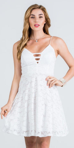 Deep V-Neck Off White Fit and Flare Homecoming Dress