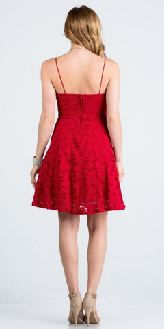 Deep V-Neck Red Fit and Flare Homecoming Dress