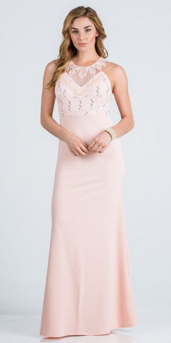 Blush Lace Neckline Long Formal Dress Cut-Out Back
