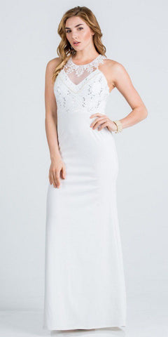 Off White Lace Neckline Long Formal Dress Cut-Out Back