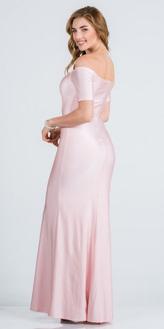 Short Sleeved Off-Shoulder Long Formal Dress Pink