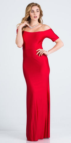 Short Sleeved Off-Shoulder Long Formal Dress Red