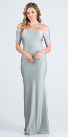 Short Sleeved Off-Shoulder Long Formal Dress Silver