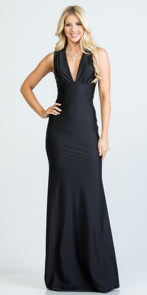 Black Deep V-Neck Sleeveless Long Formal Dress