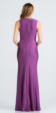 Violet Long Formal Dress with Plunging V-Neckline