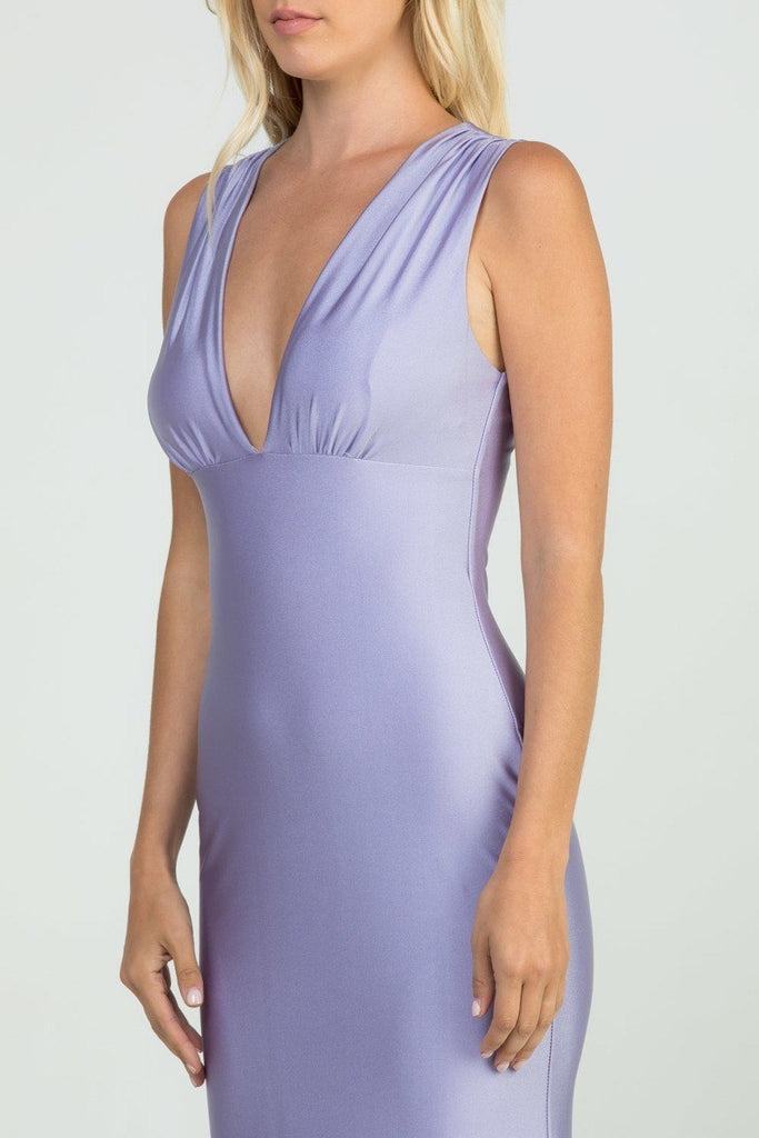 Lavender Deep V-Neck Sleeveless Long Formal Dress