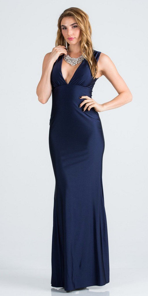 Navy Blue Deep V-Neck Sleeveless Long Formal Dress