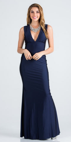 Long Beaded Embroidered Chiffon Empire Waist Dress Navy Blue