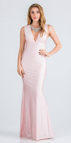 Pink Long Formal Dress with Plunging V-Neckline
