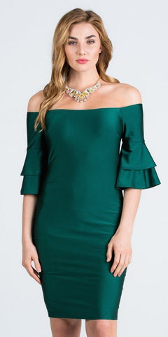 Off-Shoulder Green Short Party Dress with Layered Sleeves