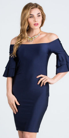 Off-Shoulder Navy Blue Short Party Dress with Layered Sleeves
