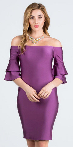 Off-Shoulder Purple Short Party Dress with Layered Sleeves