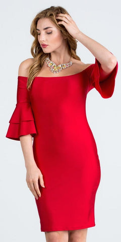 Off-Shoulder Red Short Party Dress with Layered Sleeves