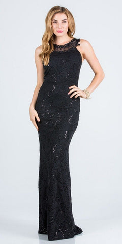 Embellished Neckline Black Long Formal Dress
