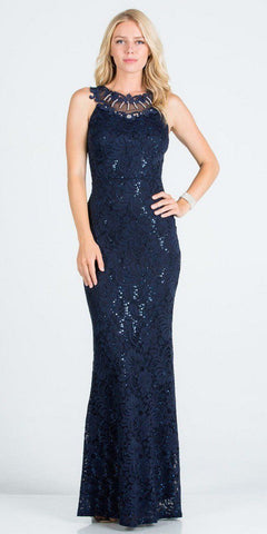 Embellished Neckline Navy Blue Long Formal Dress
