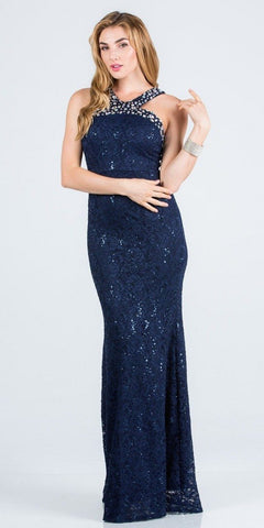 Navy Blue Lace Embellished Neckline Long Formal Dress