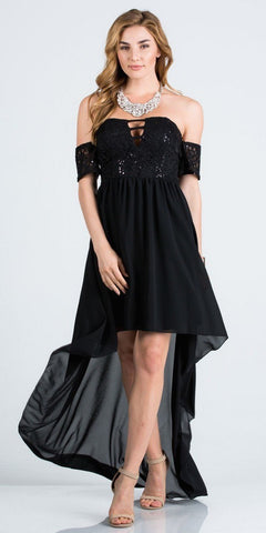 Off-the-Shoulder High-Low Homecoming Party Dress Black