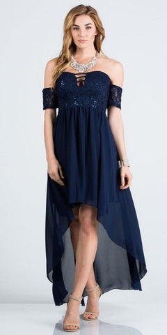Off-the-Shoulder High-Low Homecoming Party Dress Navy Blue