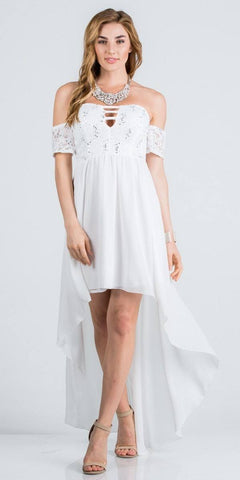 Off-the-Shoulder High-Low Homecoming Party Dress Off White