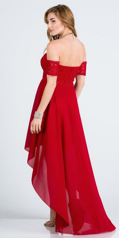 Off-the-Shoulder High-Low Homecoming Party Dress Red
