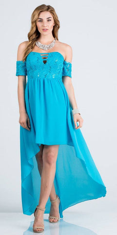 Off-the-Shoulder High-Low Homecoming Party Dress Turquoise