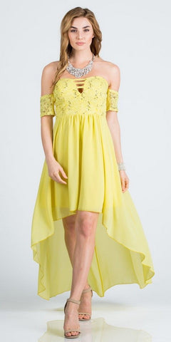 Off-the-Shoulder High-Low Homecoming Party Dress Yellow