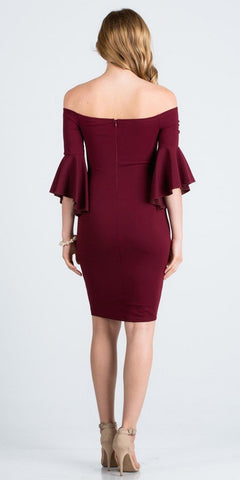 Burgundy Off Shoulder Short Party Dress with Bell Sleeves