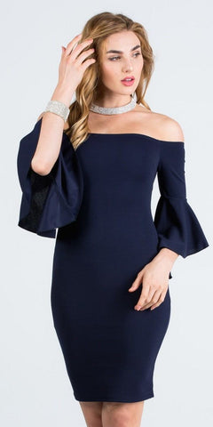 Navy Blue Off Shoulder Short Party Dress with Bell Sleeves