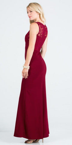 Burgundy Embellished Neckline Long Formal Dress