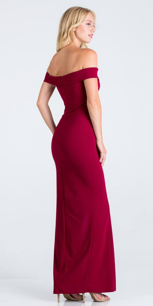 La Scala 25078 Burgundy Off-the-Shoulder Long Formal Dress with Slit