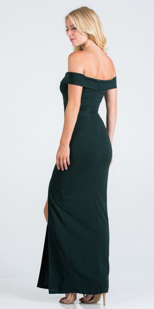 Hunter Green Off-the-Shoulder Long Formal Dress with Slit
