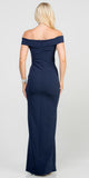 La Scala 25078 Navy Blue Off-the-Shoulder Long Formal Dress with Slit